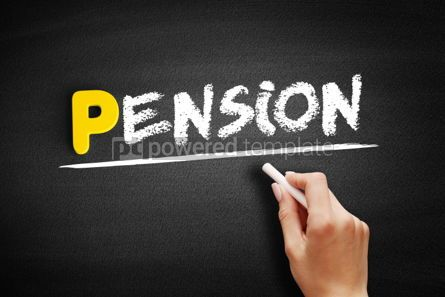 Business: Pension text on blackboard #00872
