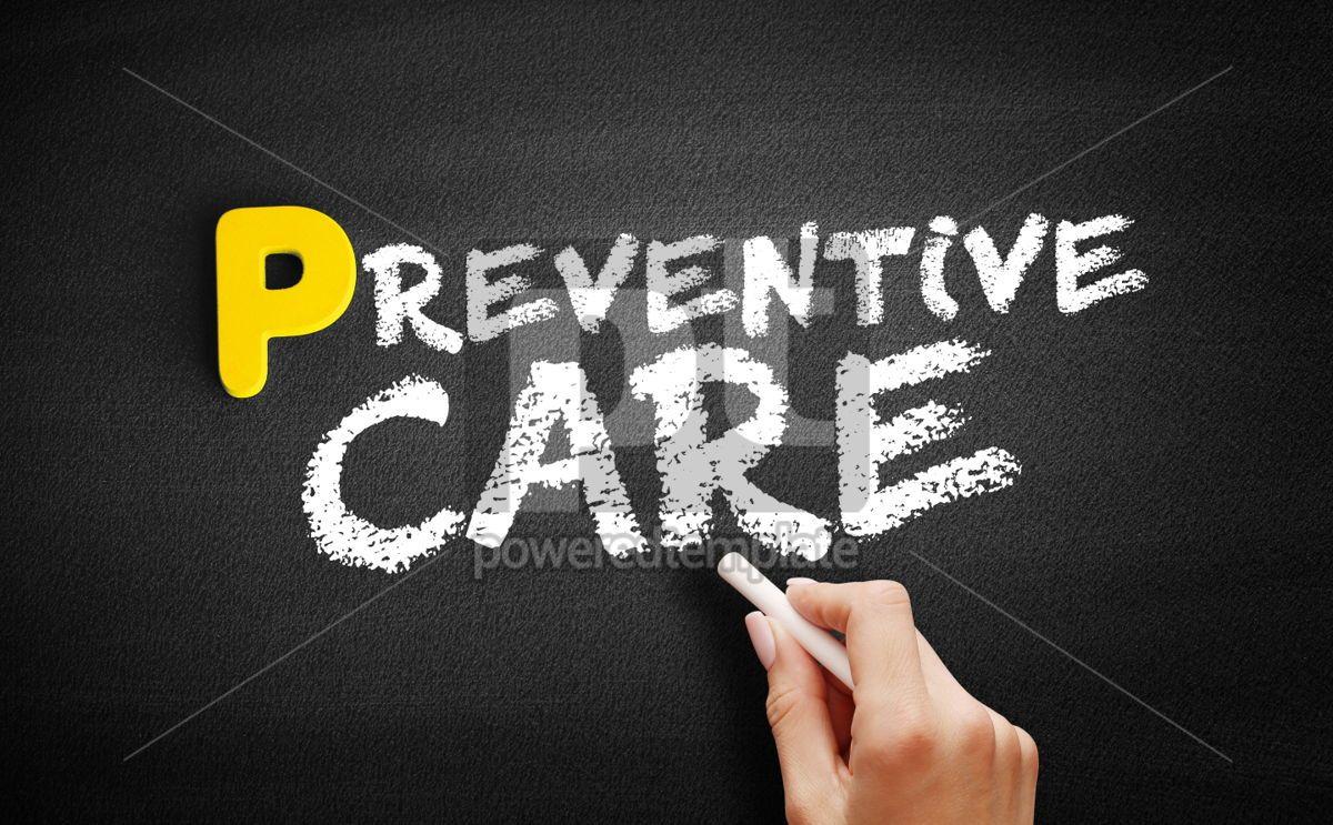 Preventive care text on blackboard, 00877, Business — PoweredTemplate.com