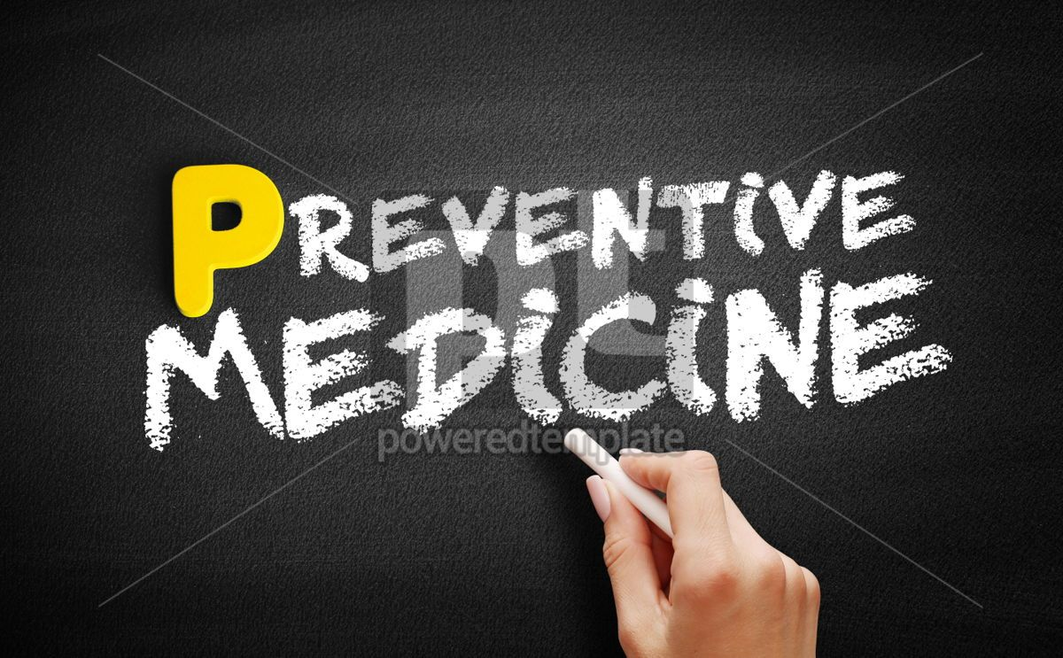 Preventive medicine text on blackboard, 00878, Business — PoweredTemplate.com