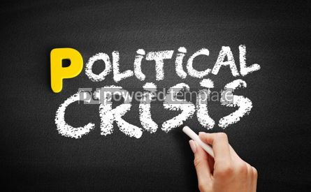 Business: Political crisis text on blackboard #00882