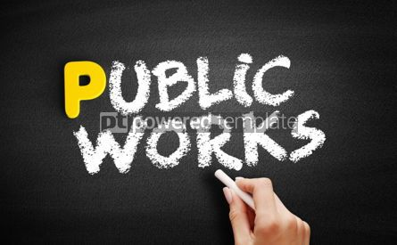 Business: Public works text on blackboard #00899