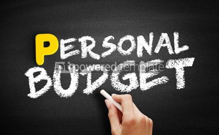 Business: Personal budget text on blackboard #00900