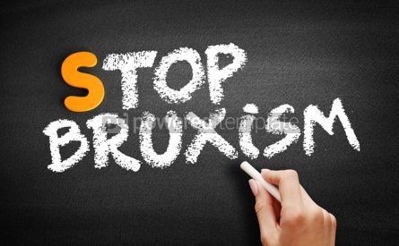 Business: Stop Bruxism text on blackboard #00916