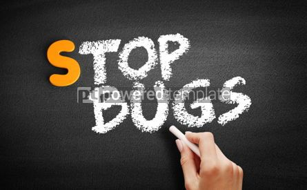 Business: Stop Bugs text on blackboard #00923