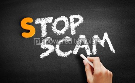 Business: Stop Scam text on blackboard #00925