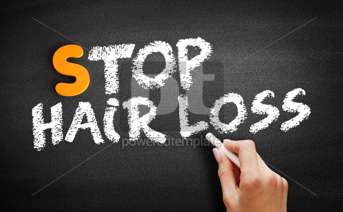 Stop Hair Loss text on blackboard, 00933, Business — PoweredTemplate.com
