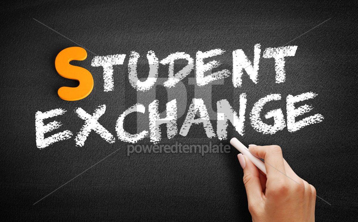 Student Exchang text on blackboard, 00944, Business — PoweredTemplate.com
