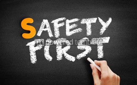 Business: Safety First text on blackboard #00950