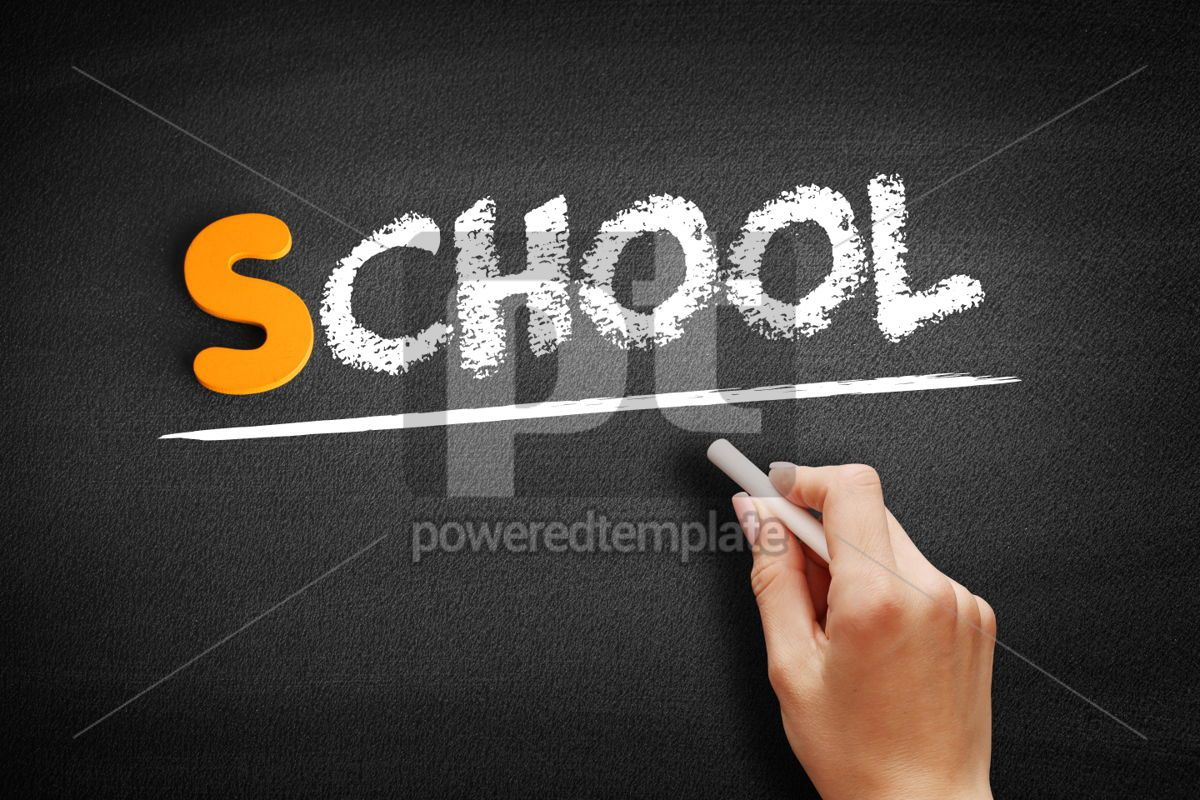 School text on blackboard, 00963, Business — PoweredTemplate.com