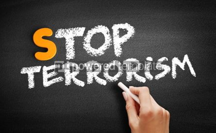 Business: Stop Terrorism text on blackboard #00969
