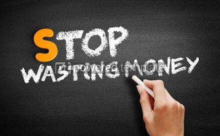 Business: Stop Wasting Money text on blackboard #00974