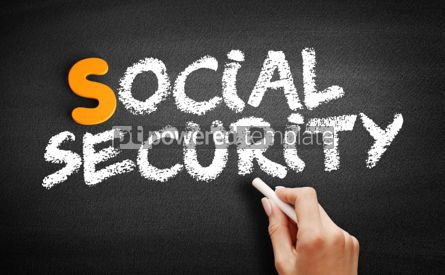 Business: Social Security text on blackboard #00978