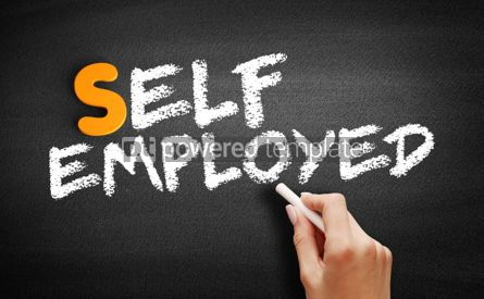 Business: Self Employed text on blackboard #00985