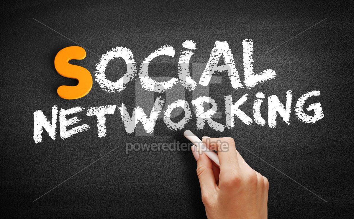 Social Networking text on blackboard, 00988, Business — PoweredTemplate.com