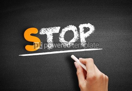 Business: Stop text on blackboard #00991