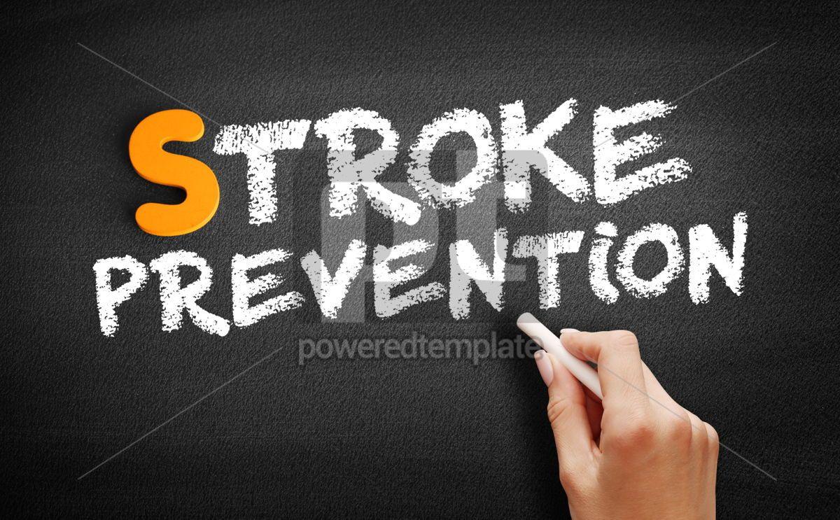 Stroke prevention text on blackboard, 01007, Business — PoweredTemplate.com