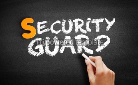 Business: Security guard text on blackboard #01017