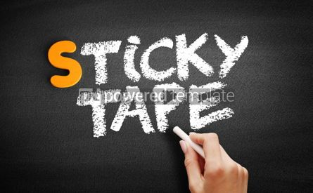 Business: Sticky tape text on blackboard #01020