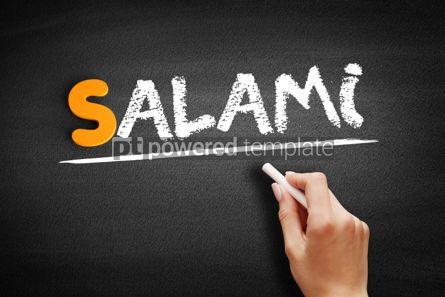 Business: Salami text on blackboard #01022