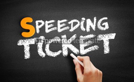 Business: Speeding ticket text on blackboard #01027