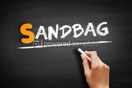 Business: Sandbag text on blackboard #01028