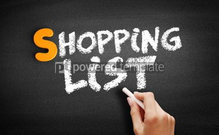 Business: Shopping list text on blackboard #01034