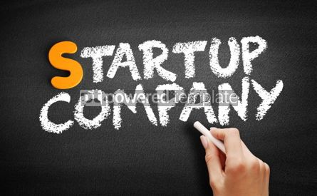 Business: Startup company text on blackboard #01036