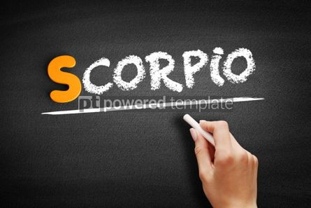 Business: Scorpio text on blackboard #01037