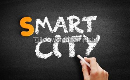Business: Smart city text on blackboard #01047