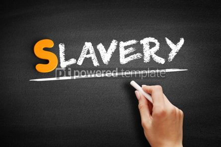 Business: Slavery text on blackboard #01052