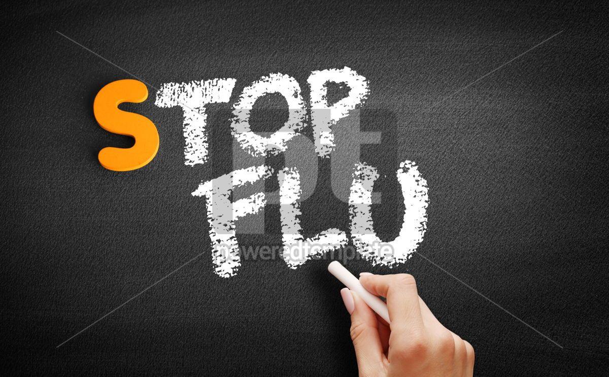 Stop Flu text on blackboard, 01068, Business — PoweredTemplate.com