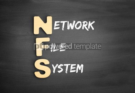 Business: Wooden alphabets building the word NFS Network File System acronym on blackboard #01136