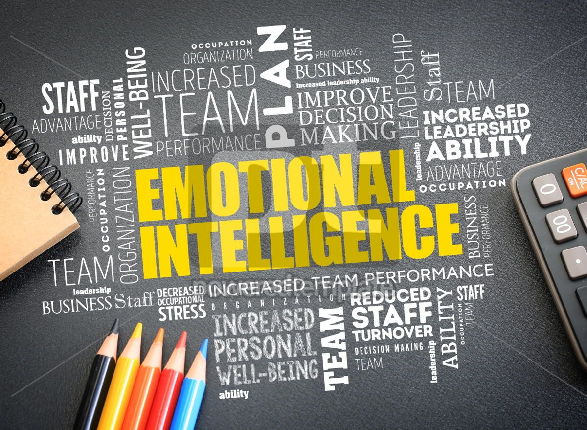 Emotional intelligence word cloud on the desk, 01180, Business — PoweredTemplate.com