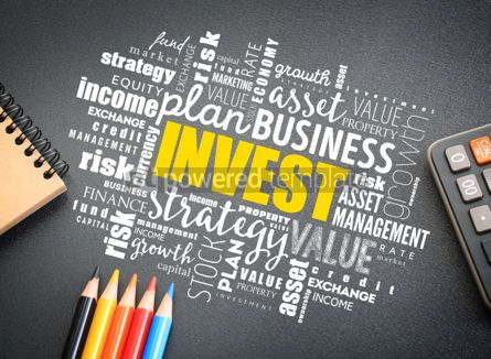 Business: Invest word cloud on the desk #01185