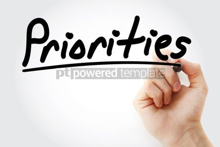 Business: Priorities text with marker business concept background #01191