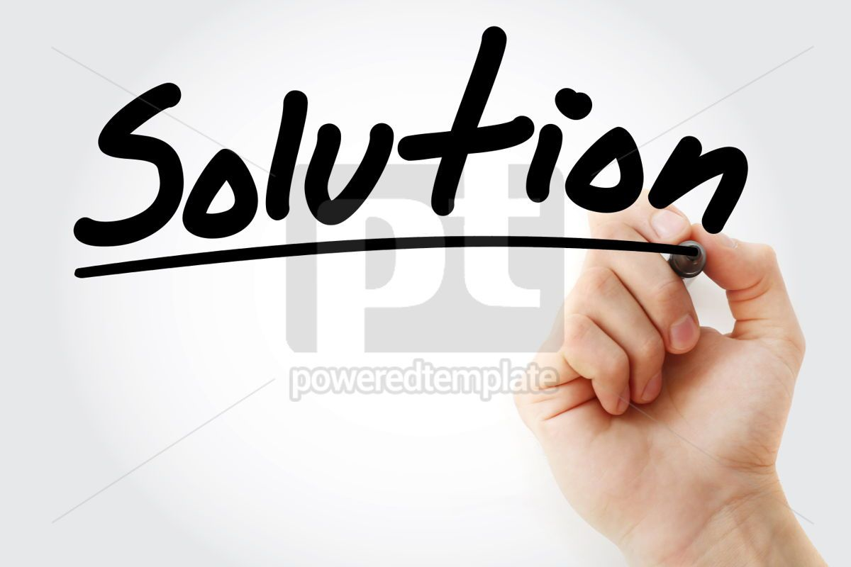 Solution text with marker business concept background, 01220, Business — PoweredTemplate.com