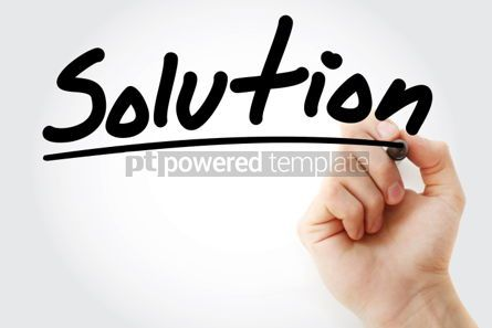 Business: Solution text with marker business concept background #01220
