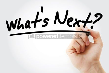 Business: What's Next text with marker business concept background #01221