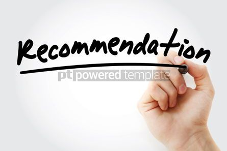 Business: Recommendation text with marker business concept background #01223