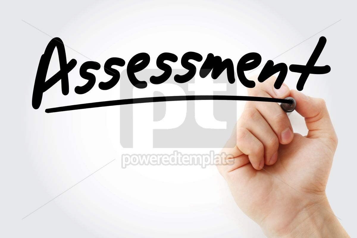 Assessment text with marker business concept background, 01245, Business — PoweredTemplate.com