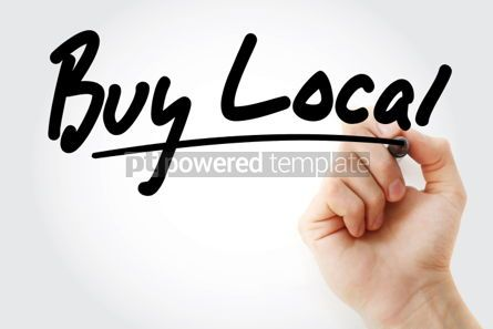 Business: Buy Local text with marker business concept background #01250