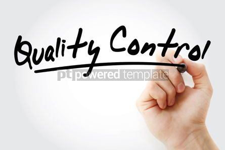 Business: Quality Control text with marker business concept background #01252