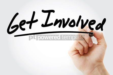 Business: Get Involved text with marker business concept background #01262