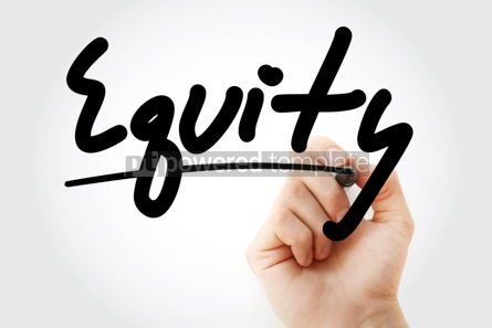 Business: Equity text with marker business concept background #01263