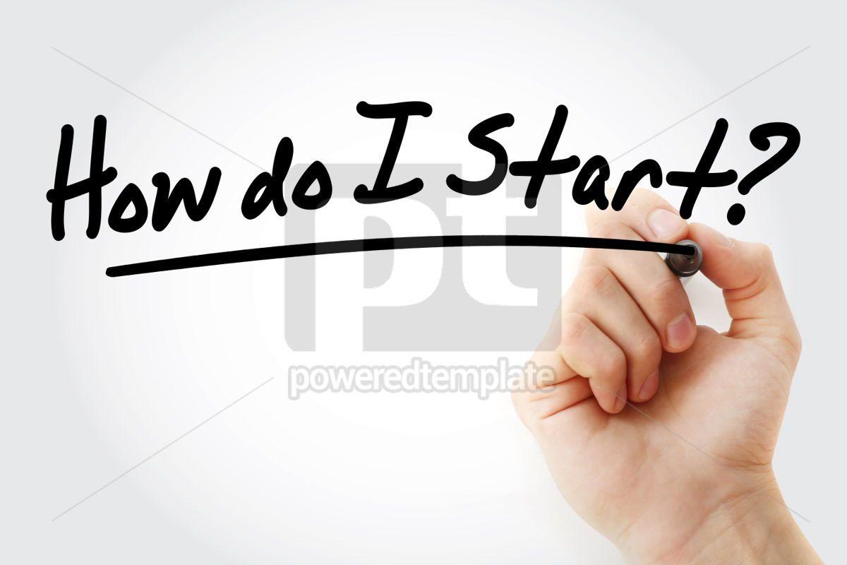 How do I Start text with marker business concept background, 01265, Business — PoweredTemplate.com
