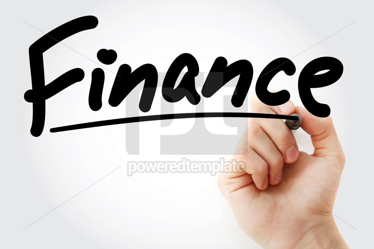 Finance text with marker business concept background, 01268, Business — PoweredTemplate.com
