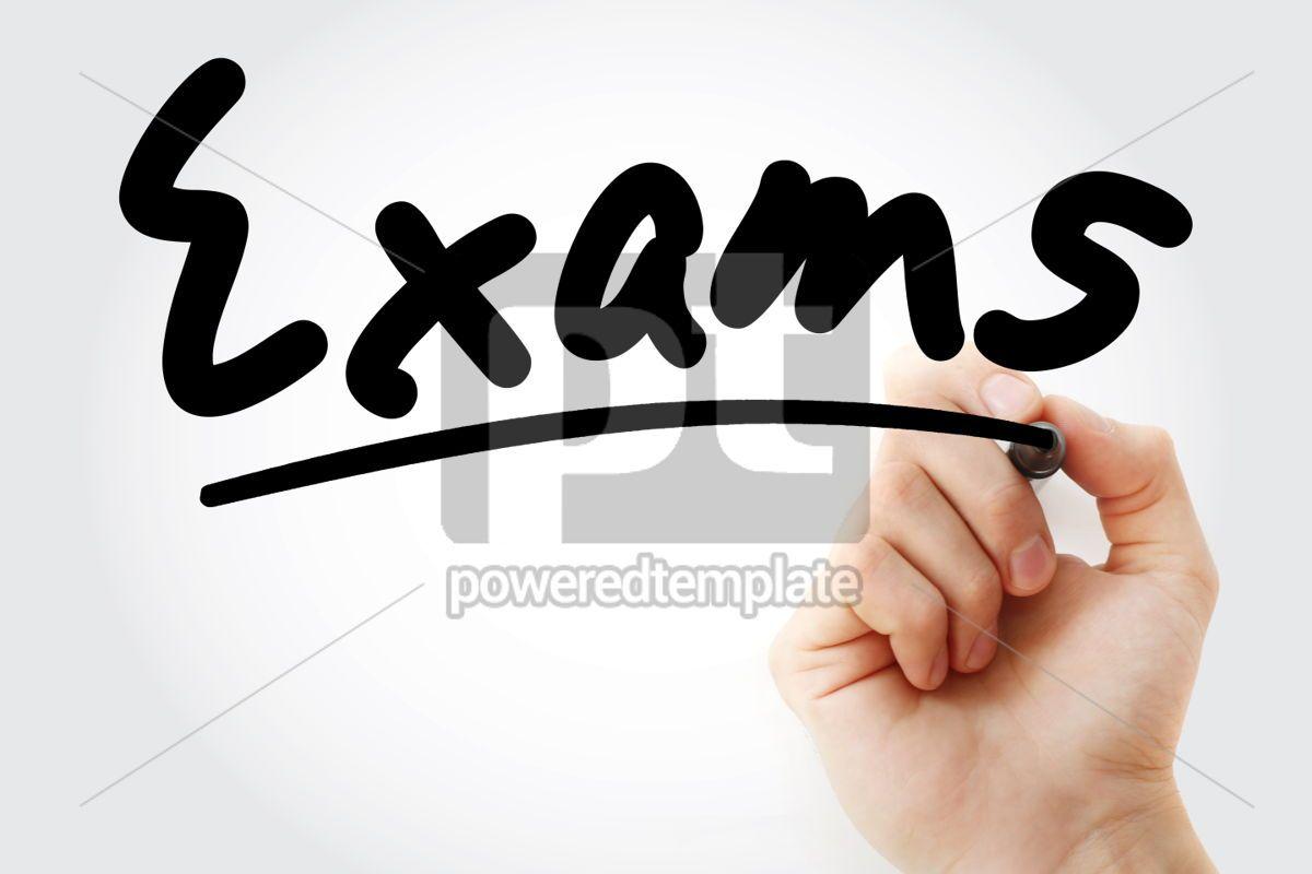Exams text with marker, 01324, Business — PoweredTemplate.com