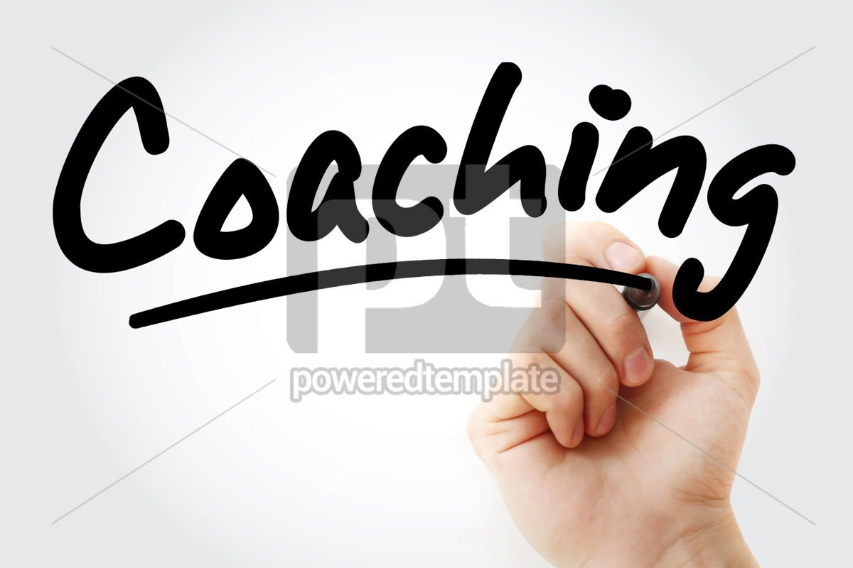 Coaching text with marker, 01391, Business — PoweredTemplate.com