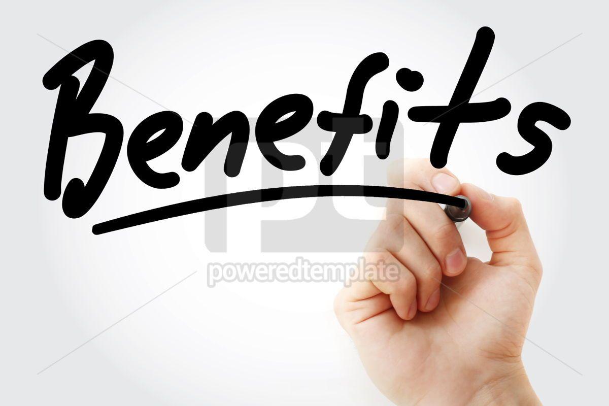 Benefits text with marker, 01399, Business — PoweredTemplate.com