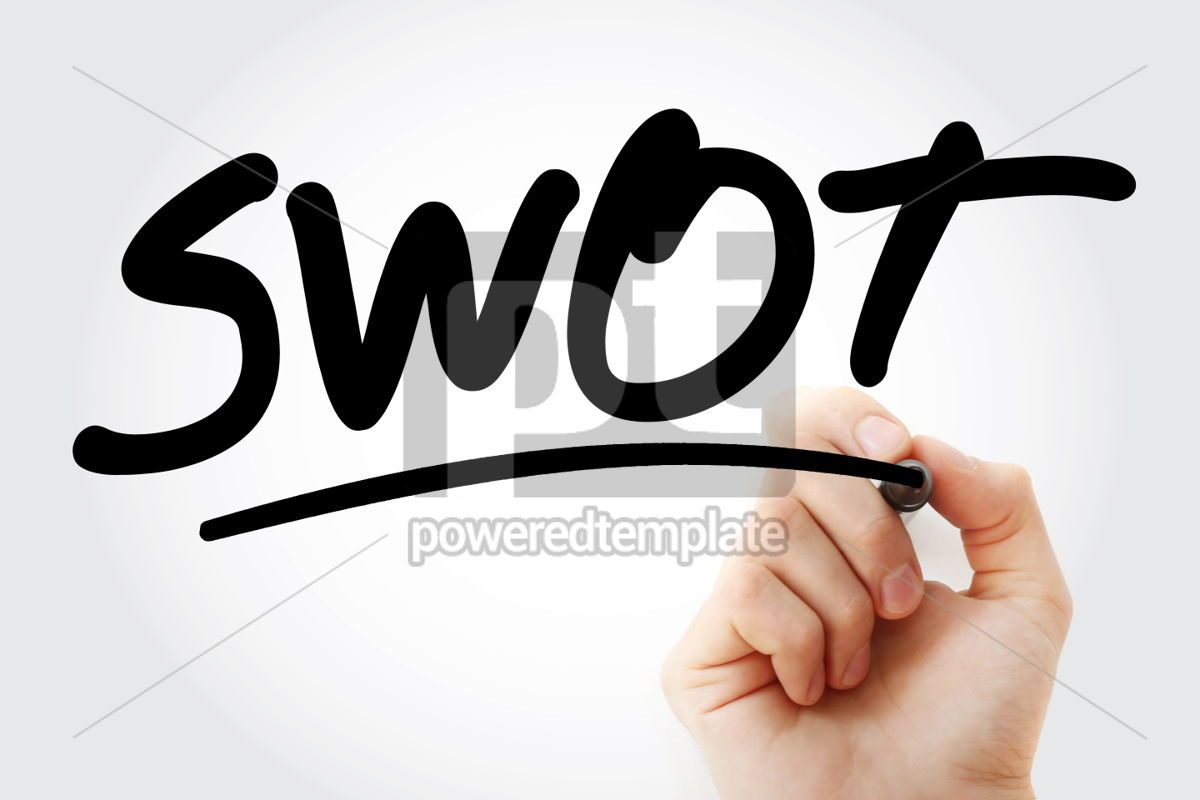 SWOT text analysis with marker, 01422, Business — PoweredTemplate.com